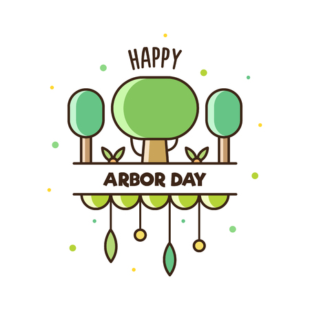 Arbor Day with text and tree graphic design Illustration.