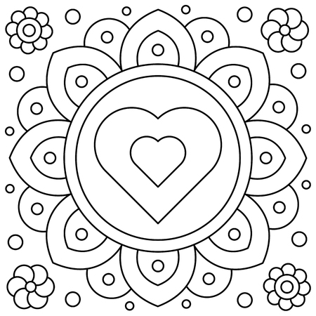 Flower. Coloring page. Black and white vector illustration