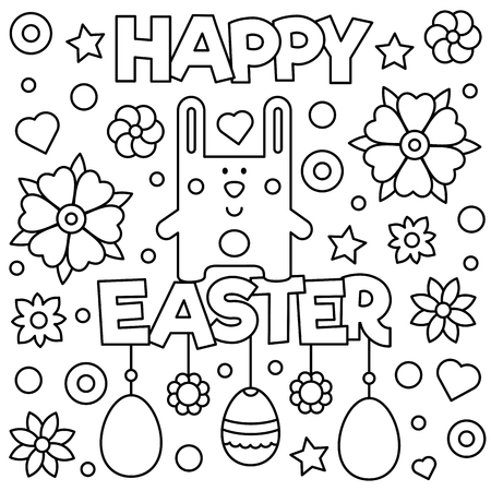 Rabbit graphic design and happy Easter text in cartoon Illustration for coloring page.