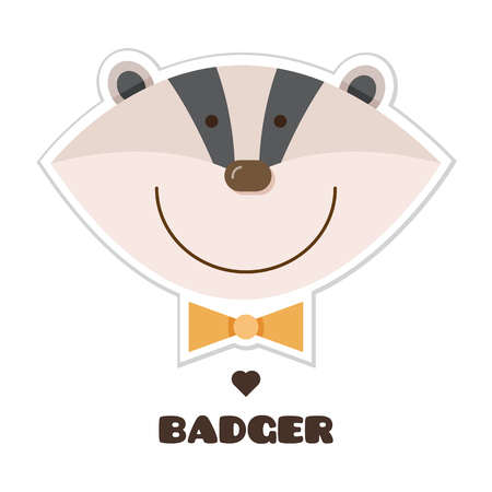 Badger. Vector illustration of head of badger. Sticker Stock Illustratie