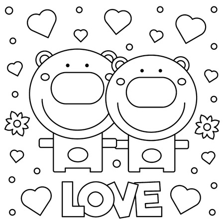 Coloring page. Black and white vector illustration of bears Illustration