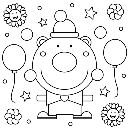 Coloring page. Black and white vector illustration of a clown