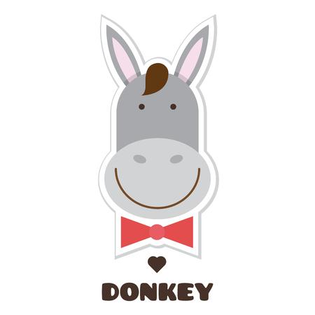 Donkey. Vector illustration of head of badger. Sticker
