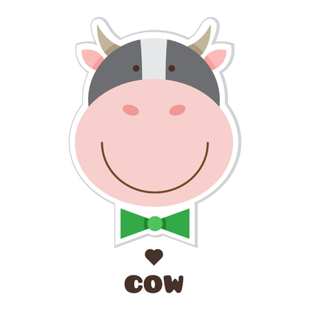 Cow.. Vector illustration of head of Cow. Sticker