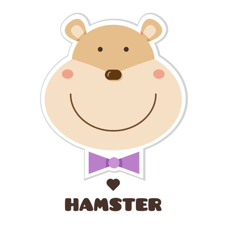 Hamster. Vector illustration of head of hamster. Sticker