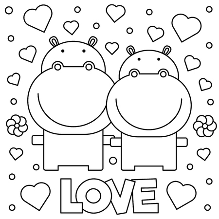 Coloring page. Black and white vector illustration of hippos Illustration