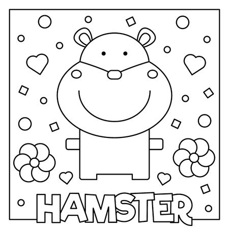 Hamster graphic design in cartoon Illustration for coloring page.