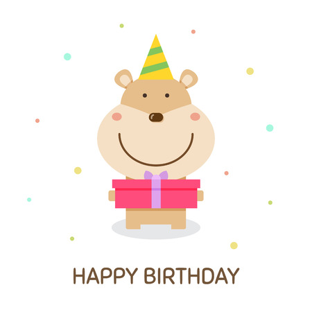 Happy Birthday text with hamster design wearing party hat and holding present.