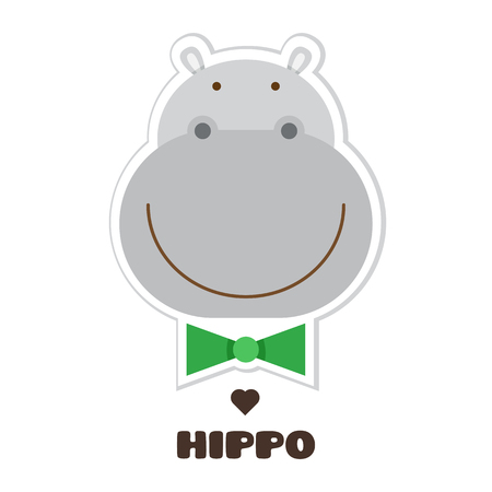 Hippopotamus graphic design in cartoon Illustration.