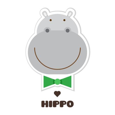 Projekt graficzny hipopotama w ilustracja kreskówka. Ilustracje wektorowe