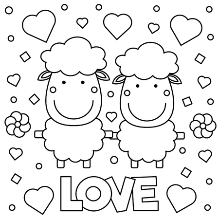 Two sheep graphic design in black and white Illustration. Illustration