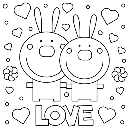 Two rabbits with love text graphic design in cartoon illustration for coloring page.