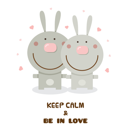 Rabbits graphic design in cartoon illustration with Keep calm and be in love text.