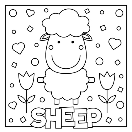 Sheep graphic design in cartoon illustration for coloring page.