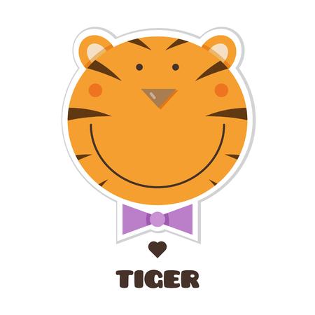 Conception graphique de tigre avec texte en illustration de dessin animé. Banque d'images - 98866621