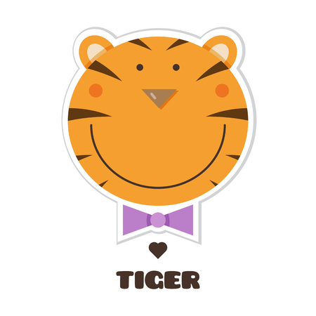 Tiger graphic design with text in cartoon Illustration.