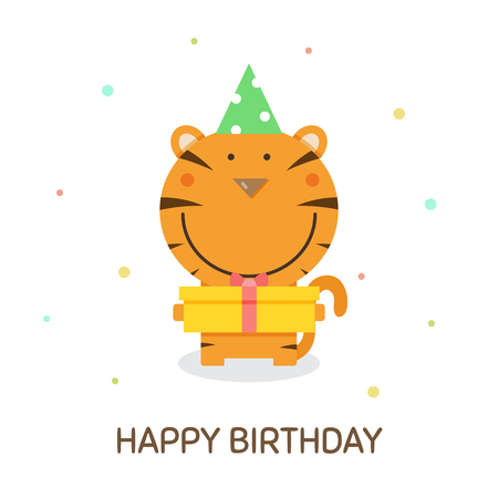 Happy Birthday concept with tiger graphic design in cartoon illustration.