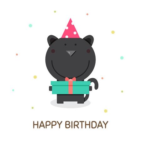 Happy Birthday bear with cake vector illustration.