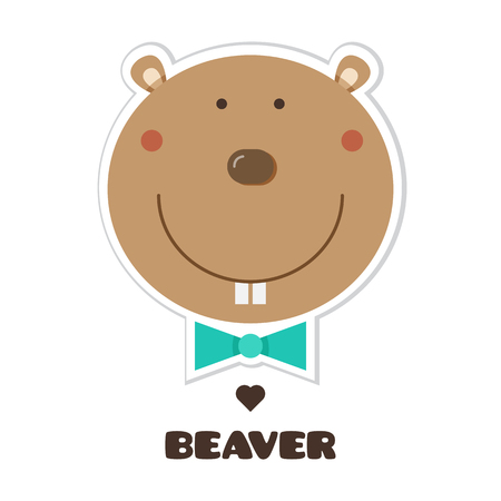 A Beaver Vector illustration of head of Sticker