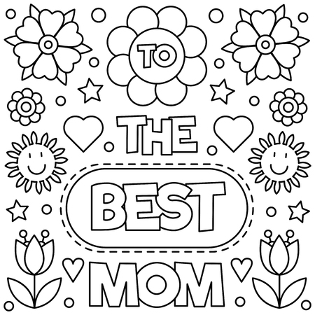 Best mom coloring page illustration Vectores