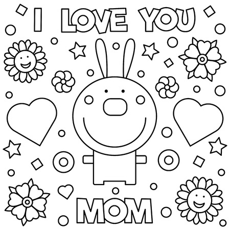 I love you mom coloring page illustration.  イラスト・ベクター素材
