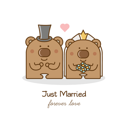 Just married. Couple of bears. Vector illustration.