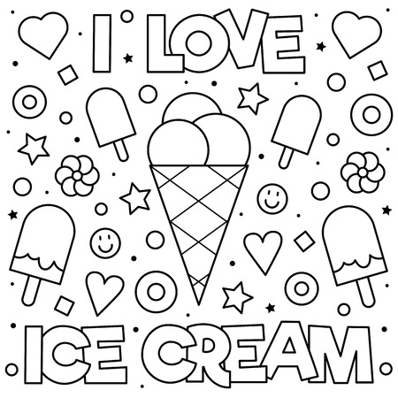 Ice Cream Coloring Pages for Free Download | 자수 도안, 스케치, 공예 | 450x450