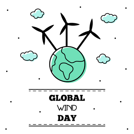 Global wind day. Vector illustration.