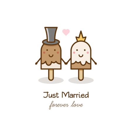 Just married. Couple of ice creams. Vector illustration.