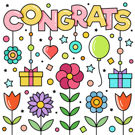 Congrats. Vector illustration of word, flowers,gifts and balloon