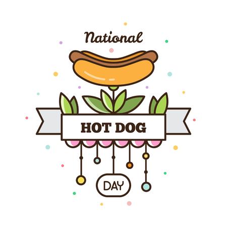 National hot dog day. Vector illustration.