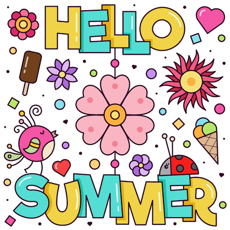 Hello Summer. Vector illustration. 矢量图像