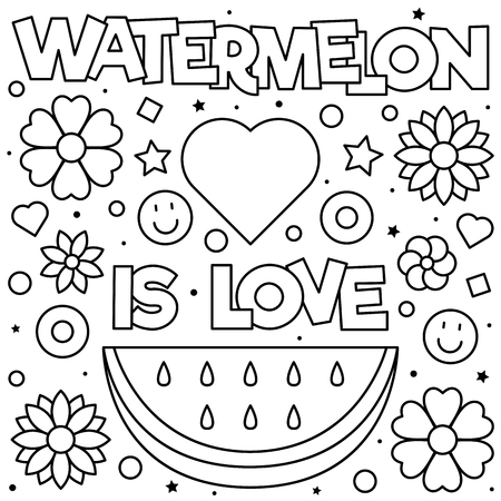 Watermelon is love. Coloring page. Black and white vector illustration