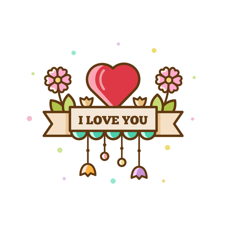 I love you. Vector illustration of heart and flowers Ilustração