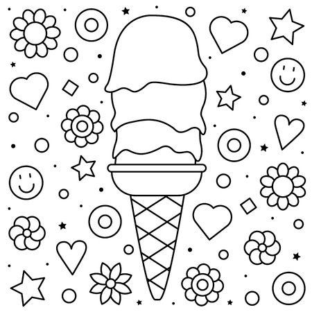 Ice cream. Coloring page. Black and white vector illustration