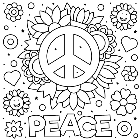 Peace sign. Coloring page. Black and white vector illustration