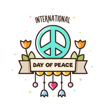 International day of peace. Vector illustration of peace sign and flowers. Çizim