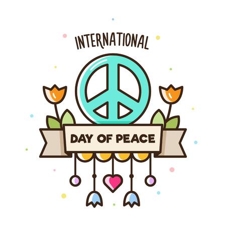 Internationale dag van de vrede. Vectorillustratie van vredesteken en bloemen. Vector Illustratie