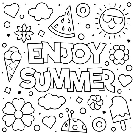 Enjoy Summer. Coloring page. Black and white vector illustration Ilustração