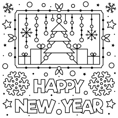 Happy New Year. Coloring page. Black and white vector illustration Vectores
