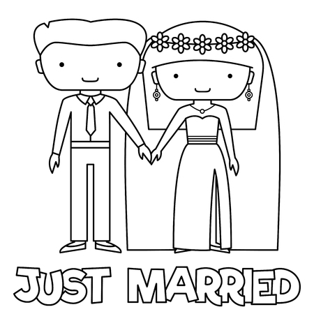 Just married. Coloring page. Black and white vector illustration of a couple