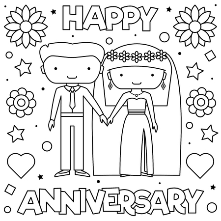Bride and groom. Coloring page. Black and white vector illustration of a couple Ilustração