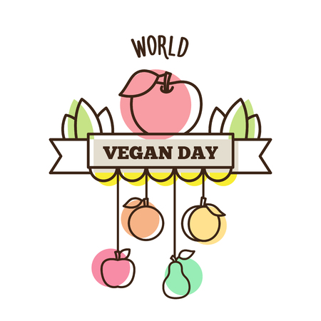 Happy Vegan Day. Vector illustration of fruit.