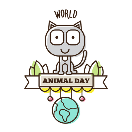 World Animal Day. Vector illustration of a cat and planet. Ilustração