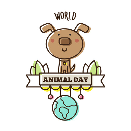 World Animal Day. Vector illustration of a dog and planet.
