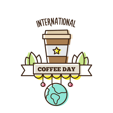 International Coffee Day. Vector illustration of coffee.