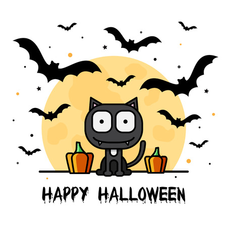 Happy Halloween. Vector illustration of cat and bats.