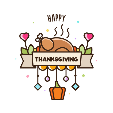 Happy Thnksgiving. Banner. Vector illustration of turkey and pumpkin.