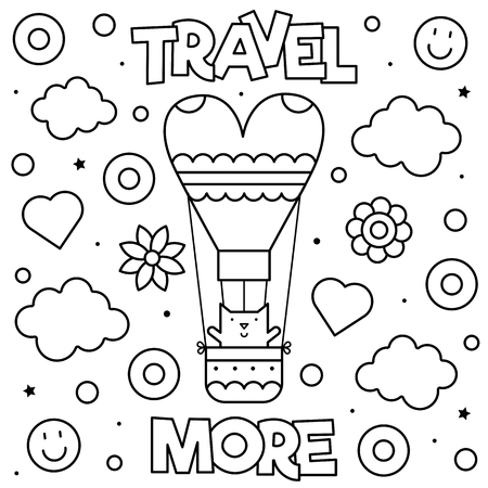 Travel more. Coloring page. Black and white vector illustration