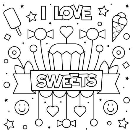 I love sweets. Coloring page. Black and white vector illustration